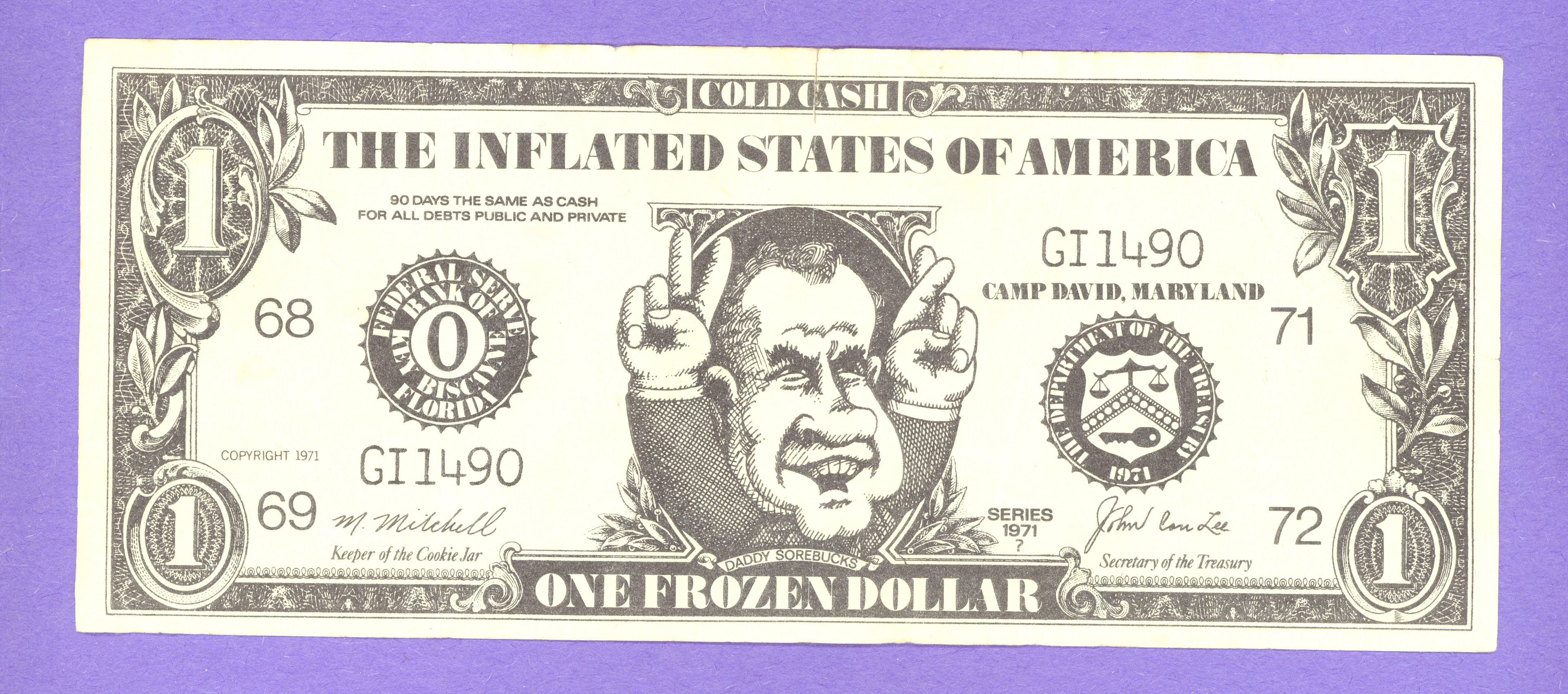 One Frozen Dollar - President Nixon - Cold Cash