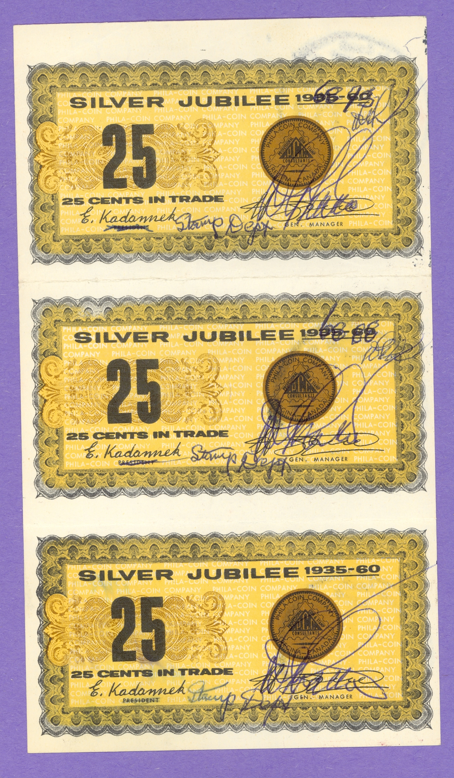 1960 Phila-Coin Company Regina Trade Notes Altered and Initialled