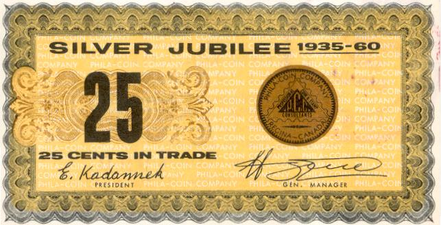 1960 Regina Silver Jubilee Trade Note No Serial Number