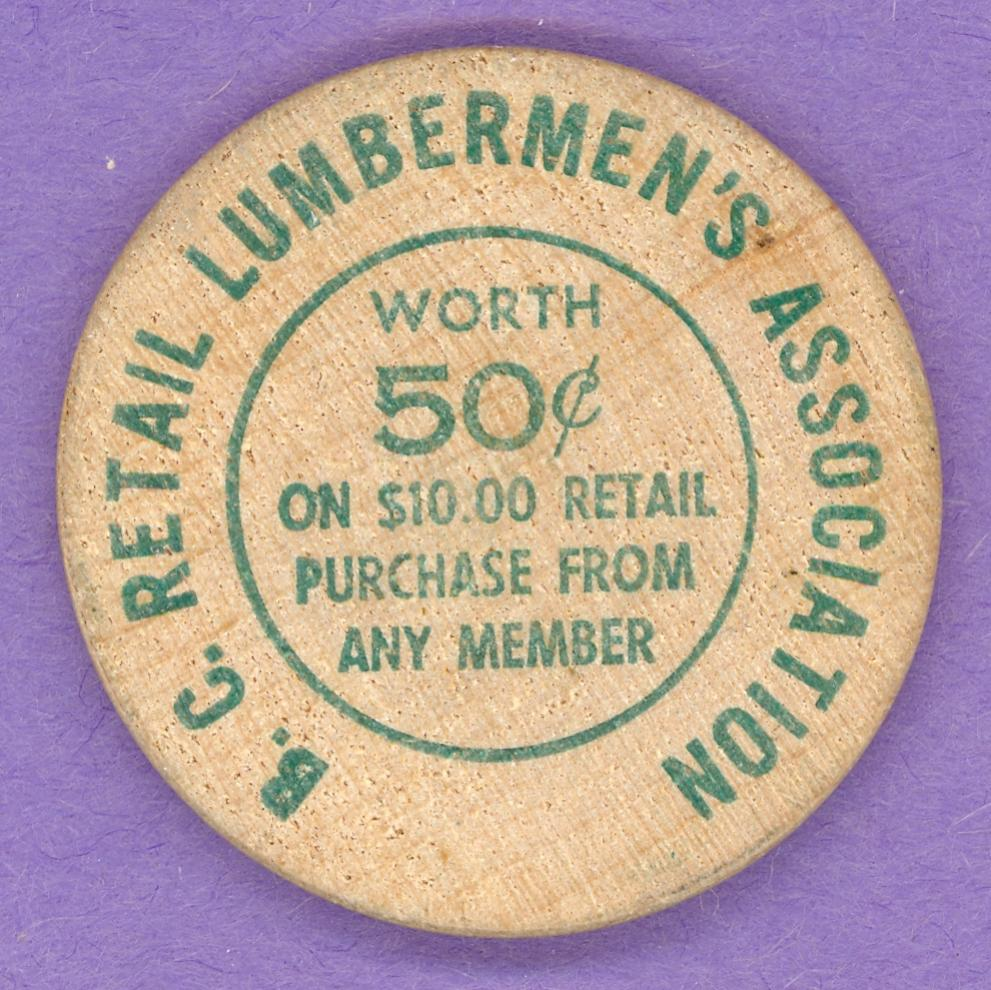 1961 BC Retail Lumbermen's Association Wooden Nickel