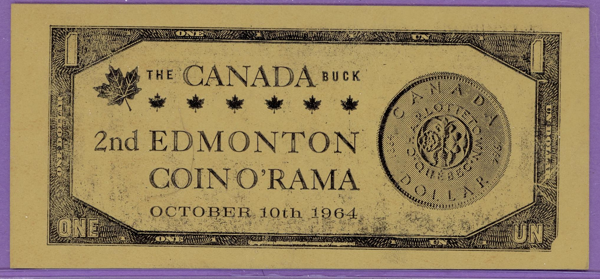 1964 Edmonton Alberta 2nd Coin O'Rama LEATHER Trade Note