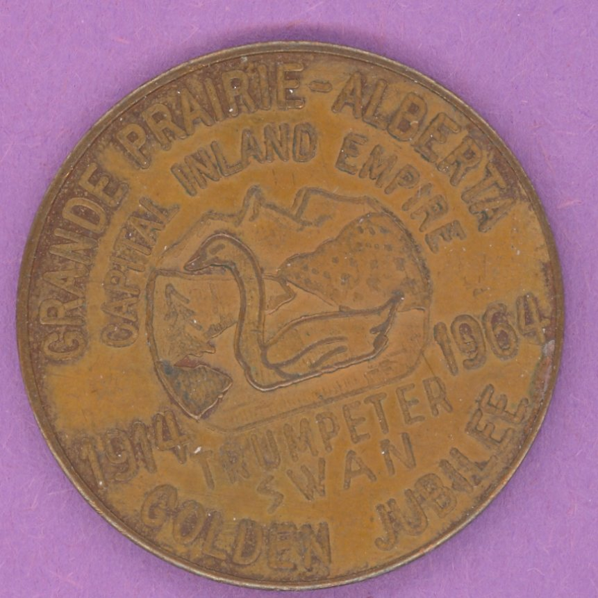 1964 Grande Prairie Alberta Municipal Trade Token or Dollar SMALL SWAN