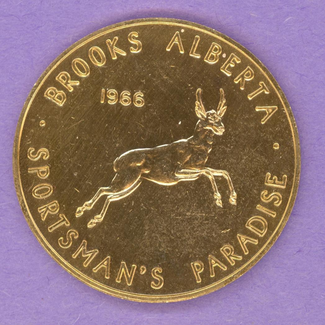 1966 Brooks Alberta Trade Token or Dollar Jumping Buck Deer Lions Club Logo