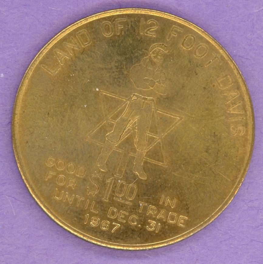 1967 Peace River Alberta Trade Token or Dollar Canada Centennial 12 Foot Davis