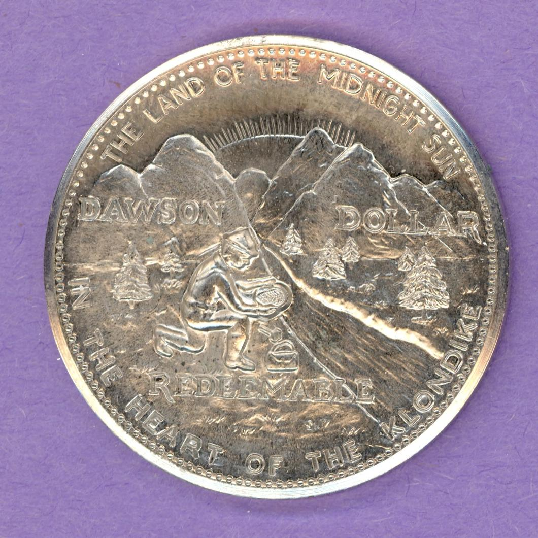 1969 Dawson City Yukon Trade Token or Dollar Prospector Mountains STRAIGHT RAYS