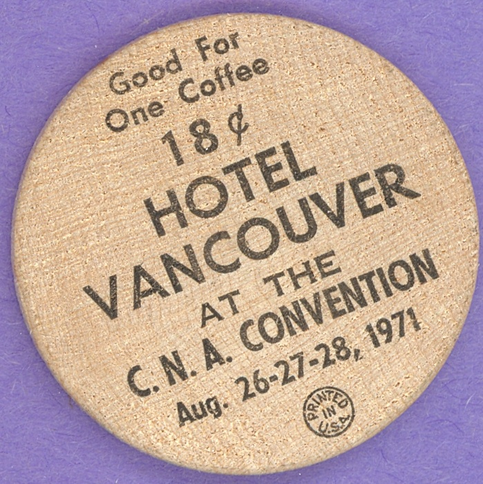 1971 Vancouver CNA Convention Wooden Nickel