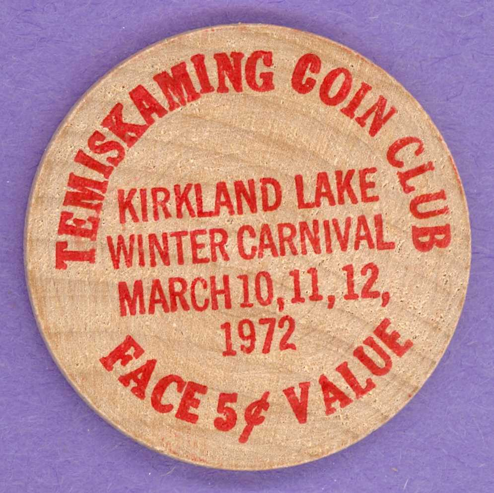 1972 Temiskaming Coin Club Ontario Wooden Nickel