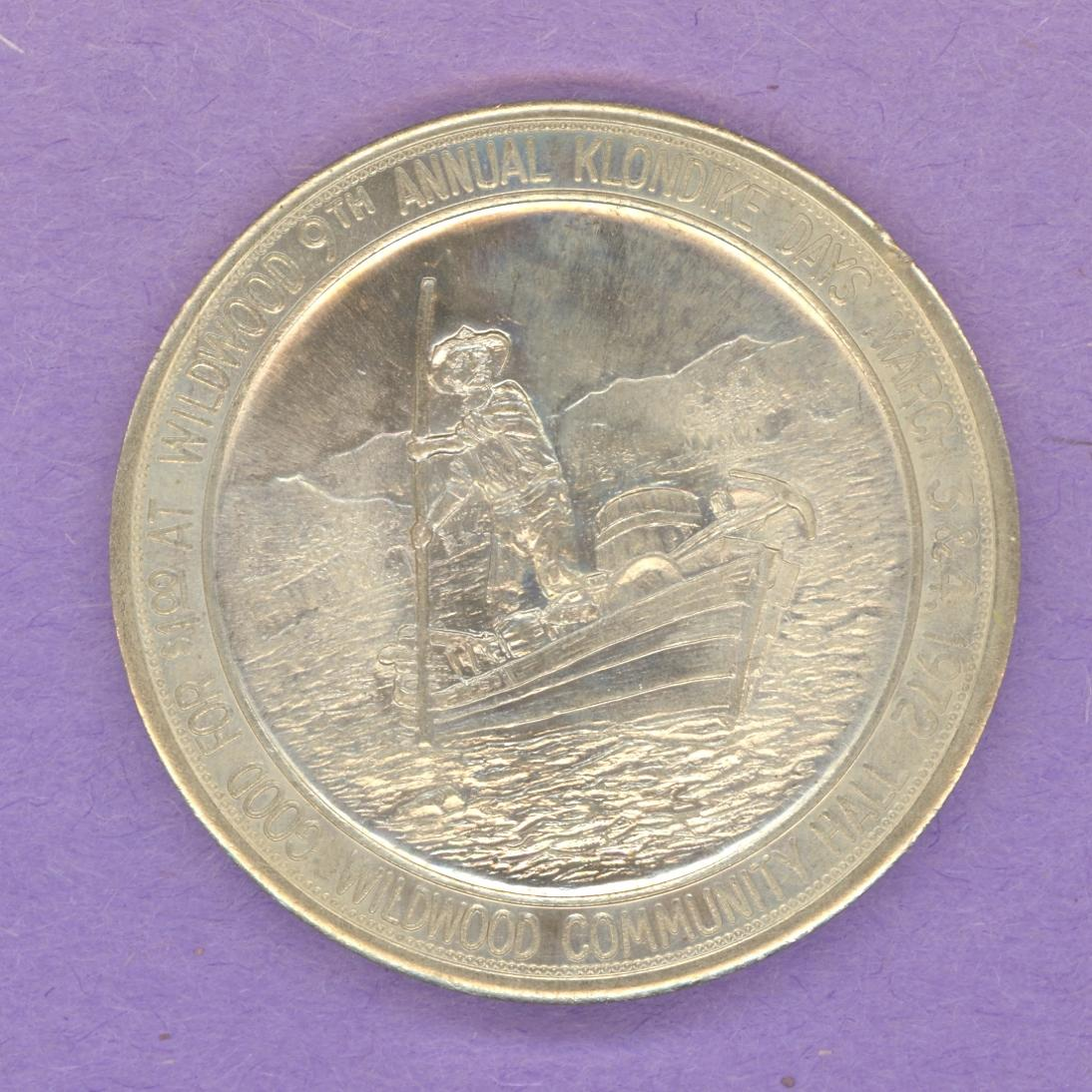 1972 Wildwood Alberta Trade Token or Dollar Man Poling a Boat Elk Nickel Silver