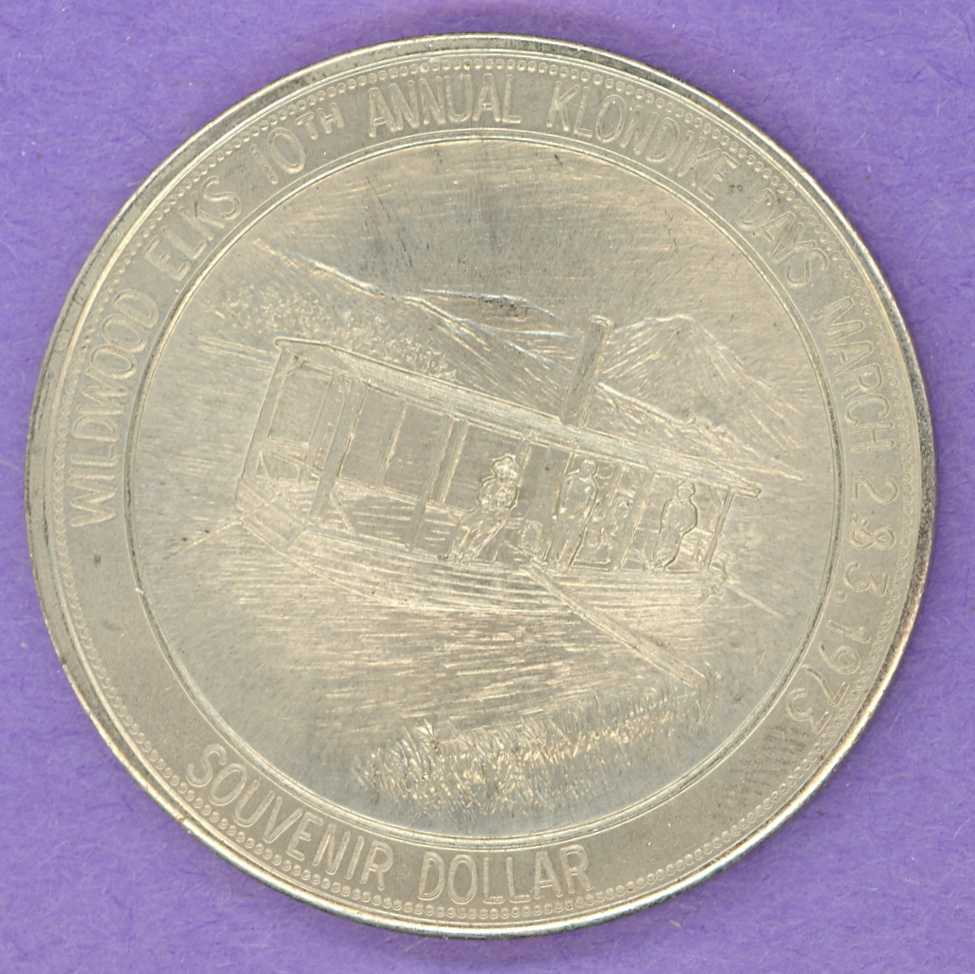 1973 SCARCE Wildwood Alberta Trade Token Docked River Boat Elk Nickel Silver