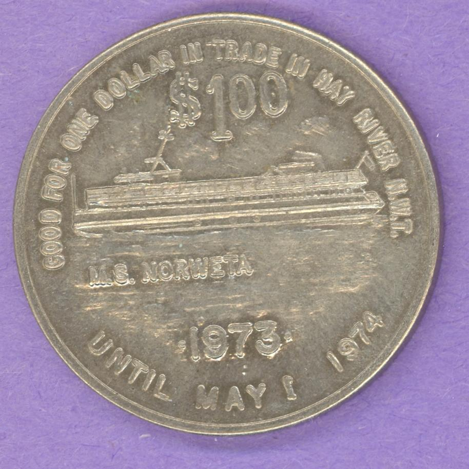 1974 Hay River NWT SCARCE Trade Dollar or Token Ship MS Norweta WITH FLAG on RIGHT