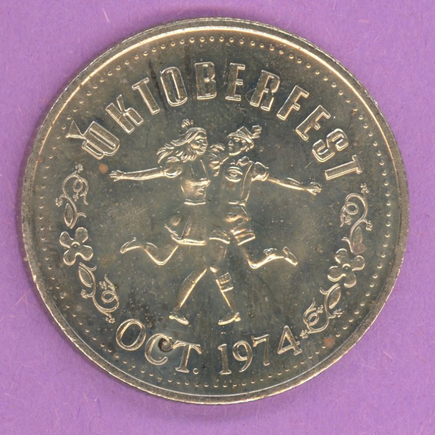 1974 Kitchener Waterloo Ontario Trade Token or Dollar Hans with Mug Dancers NS