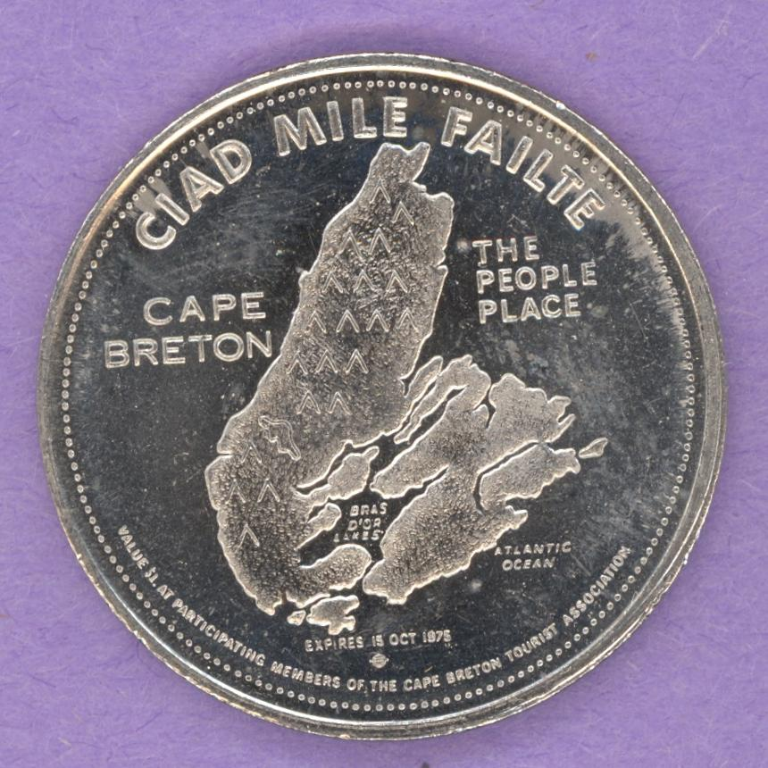 1975 Cape Breton Nova Scotia Trade Token or Dollar Map of Island MacPuffin