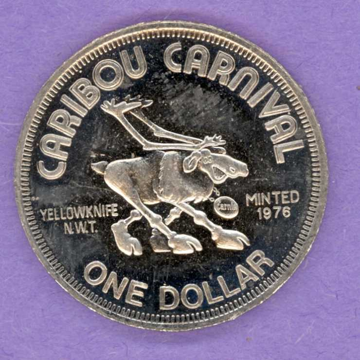 1976 Yellowknife NWT Trade Dollar Dog Sled Carny the Caribou