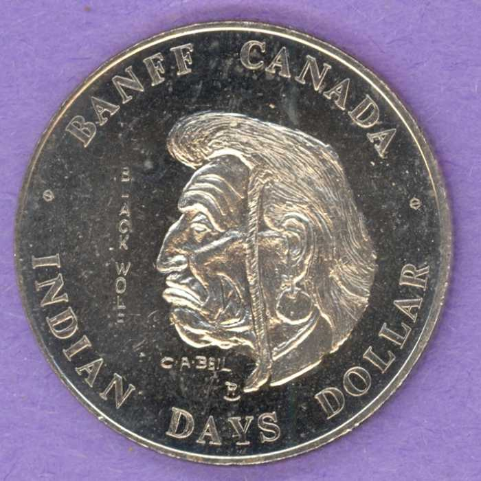 1977 Banff Trade Token - Chief Black Wolf