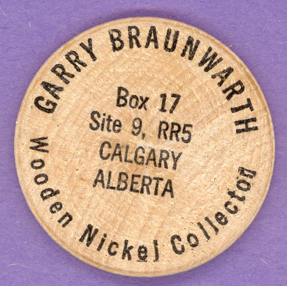 1977 Garry Braunwarth Wooden Nickel Collector Wooden Nickel