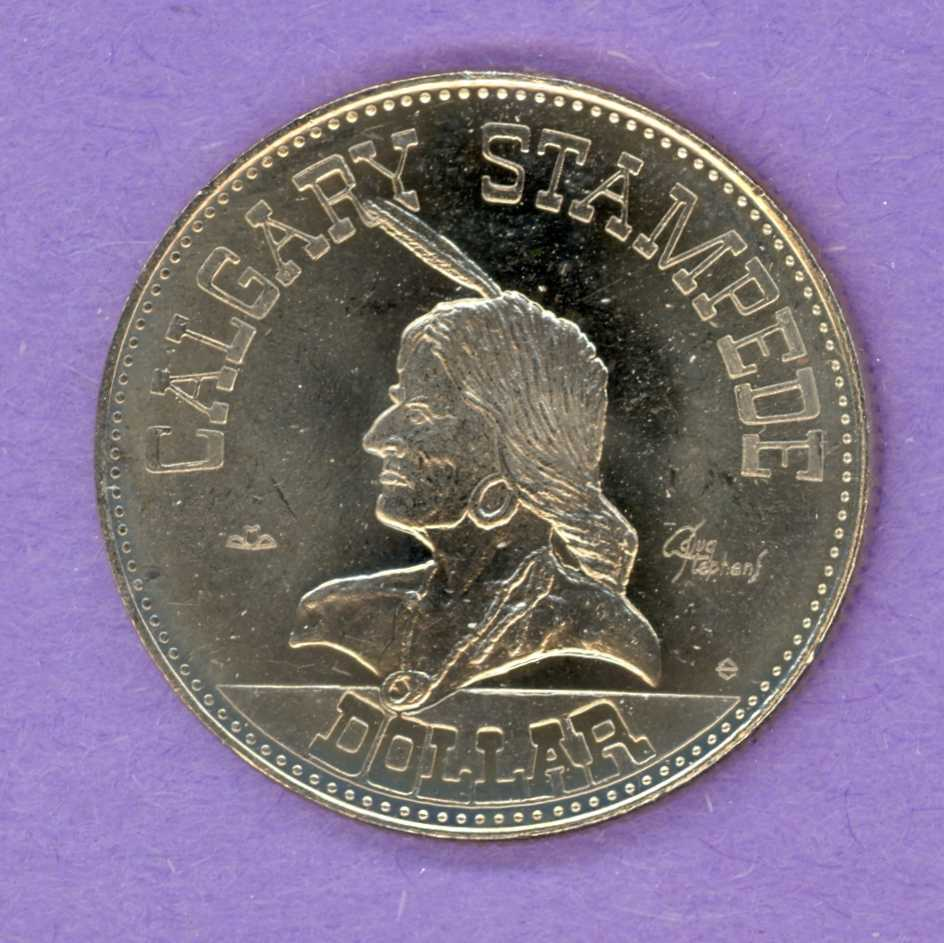1977 Calgary Stampede Trade Dollar - Maple Leaf - Hat Mint Mark
