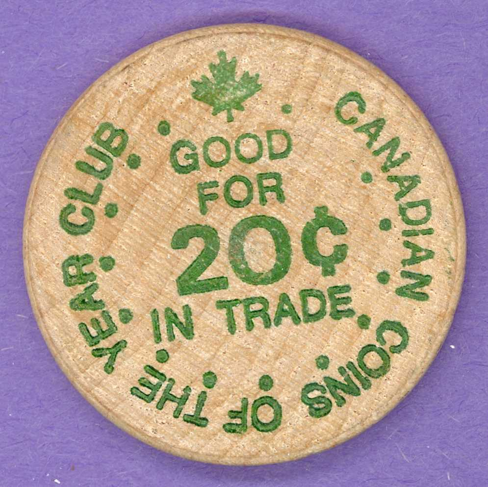 1977 Coty Club Twentieth Anniversary Wooden Nickel