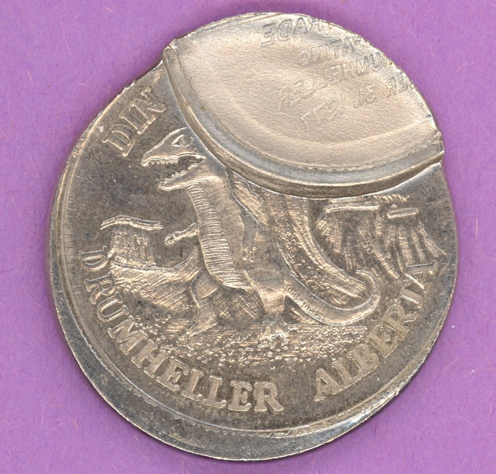 1977 Drumheller ERROR , Alberta Municipal Trade Dollar or Dollar Dinosaur Coal Mine SCARCE ORIGINAL