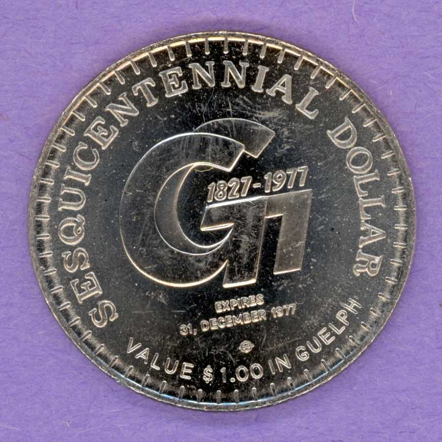 1977 Guelph Ontario Trade Token or Dollar Guelph 150th Anniversary