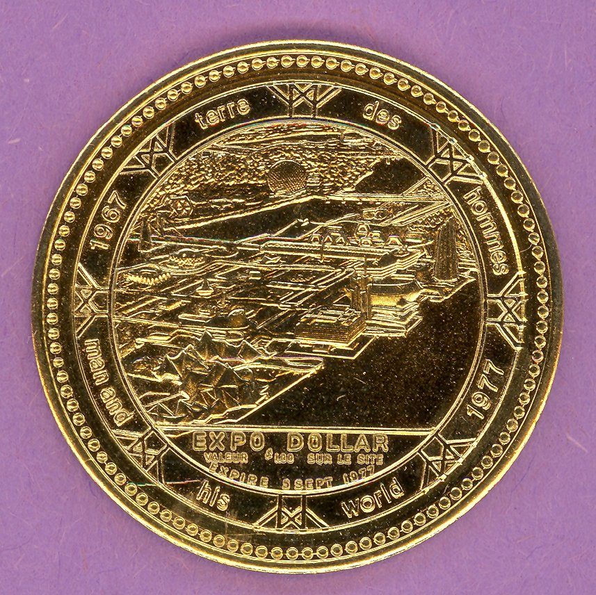 1977 Montreal Quebec Municipal Trade Token or Dollar Man & His World Site GOLD PLATE