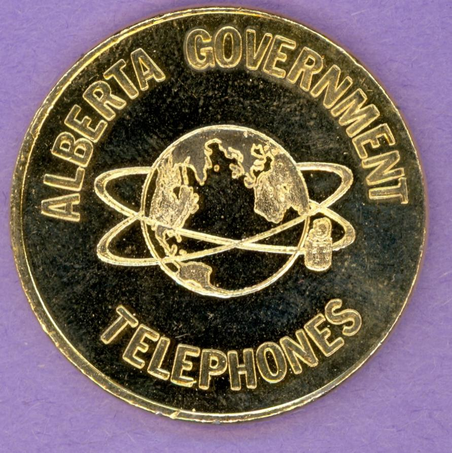 1978 Alberta Government Telephones $5 Visit Private Trade Token Brass Plated