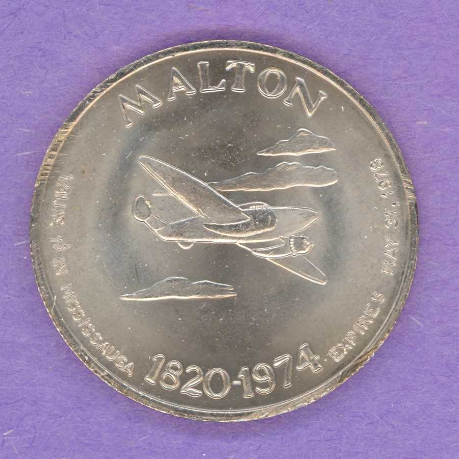 1978 Mississauga Ontario Trade Token or Dollar Malton Airplane Crest