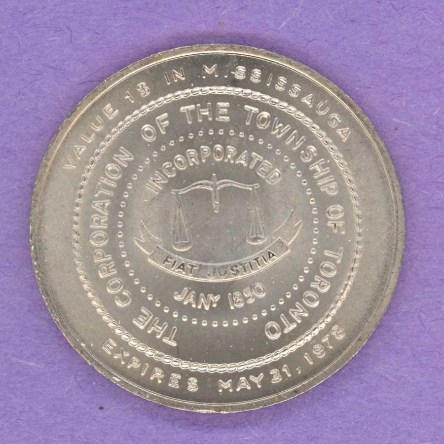 1978 Mississauga Ontario Trade Token or Dollar Toronto Township Crest