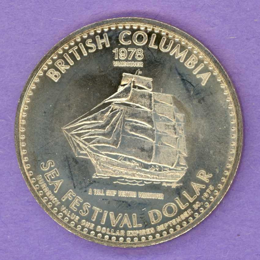1978 Vancouver B.C. Trade Token or Dollar Clipper Ship Tall Ship