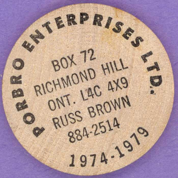 1979 Porbro Enterprises Ltd. Wooden Nickel