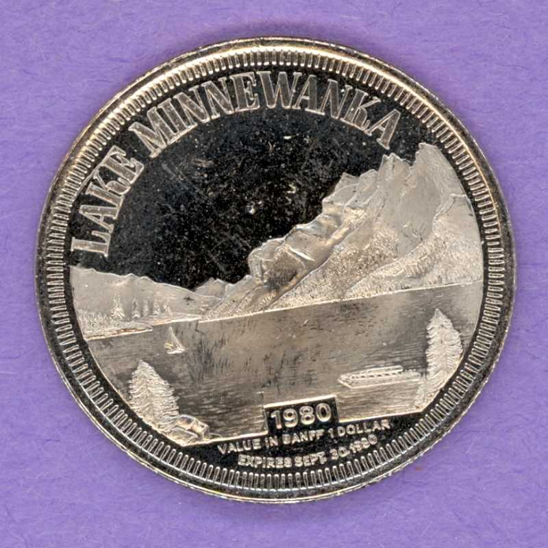 1980 Banff Municipal Trade Token - Lake Minnewanka