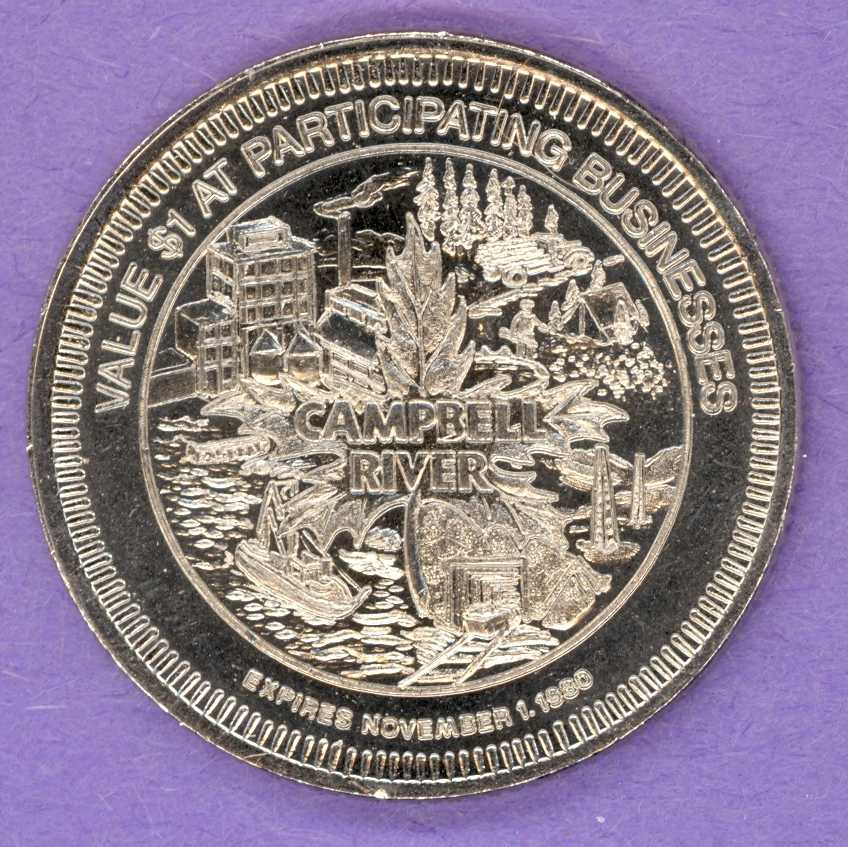 1980 Campbell River British Columbia Trade Token Various Scenes Salmon