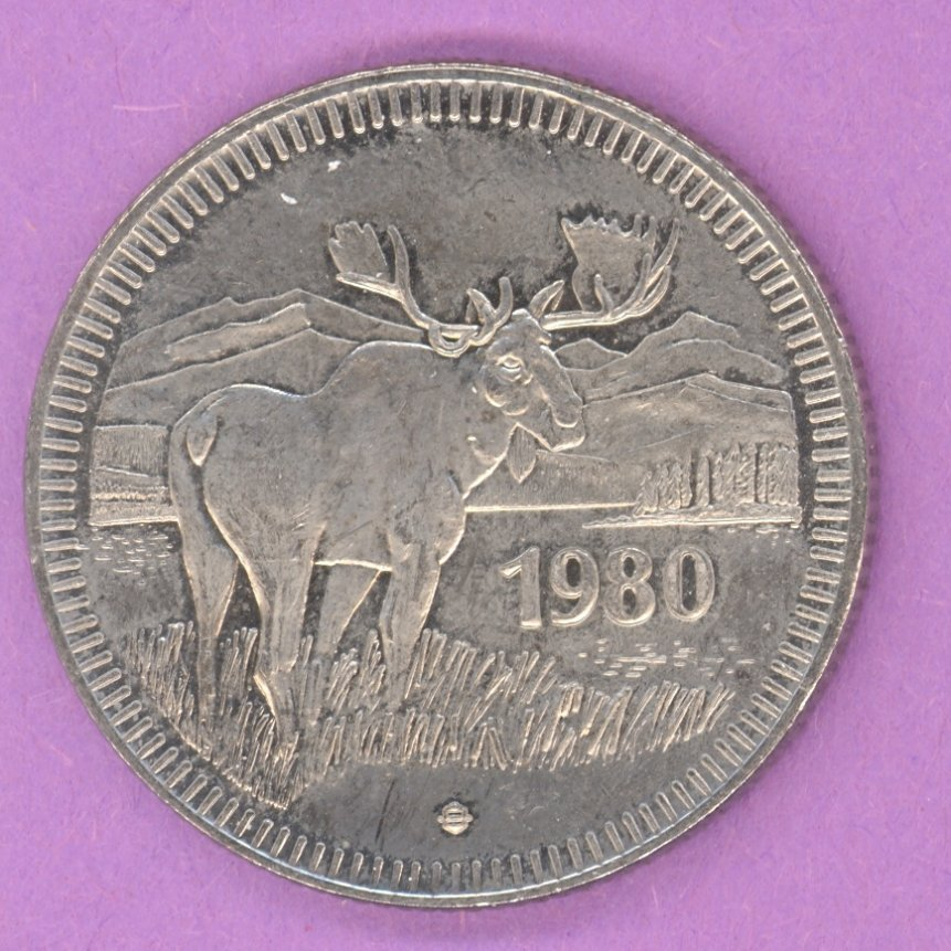 1980 Jasper Alberta Trade Token or Dollar Moose Bear