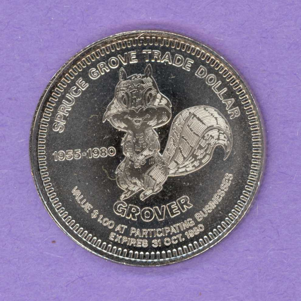 1980 Spruce Grove Alberta Trade Dollar - Squirrel