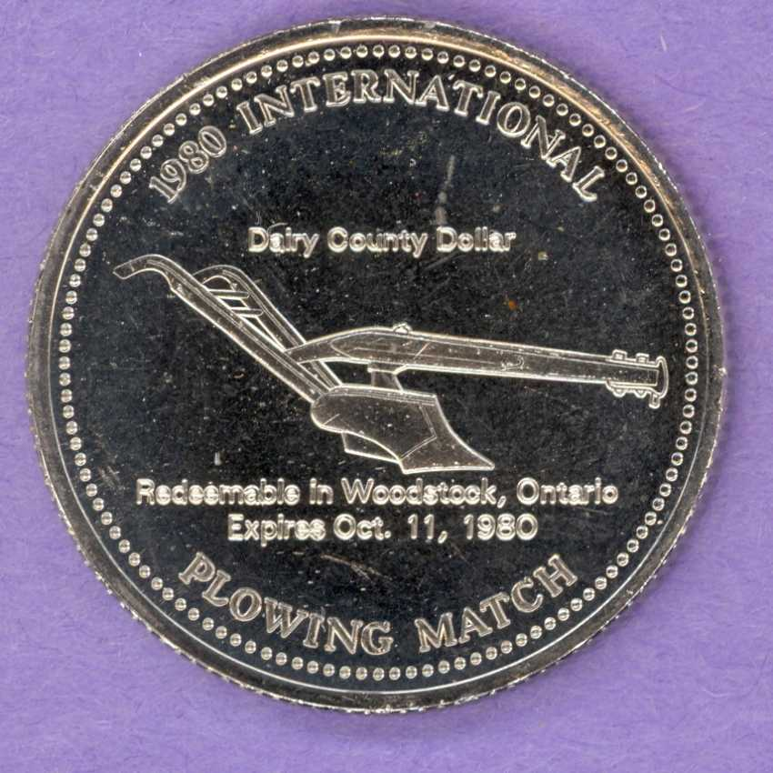 1980 Woodstock Ontario Trade Token or Dollar Plow City Hall 1st Strike No Dots