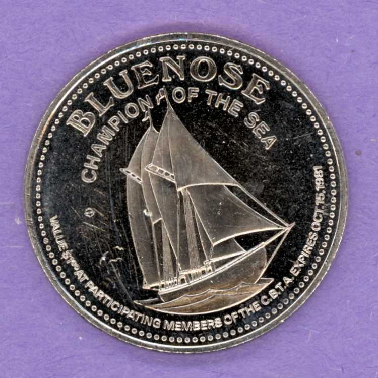 1981 Cape Breton Nova Scotia Trade Token or Dollar Bluenose MacPuffin