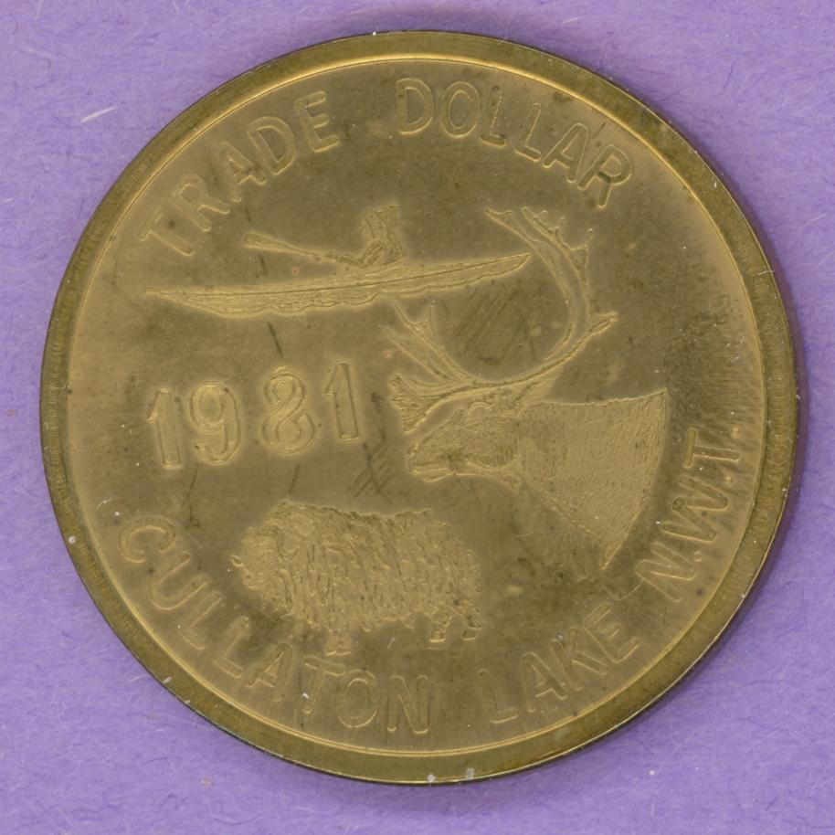 1981 Cullaton Lake NWT SCARCE Trade Dollar Caribou Muskox, ThiKayak Kudlik PLAIN EDGE