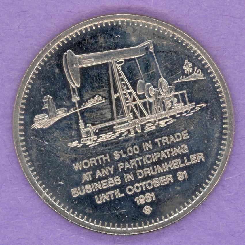 1981 Drumheller, Alberta Trade Dollar - Oil Well