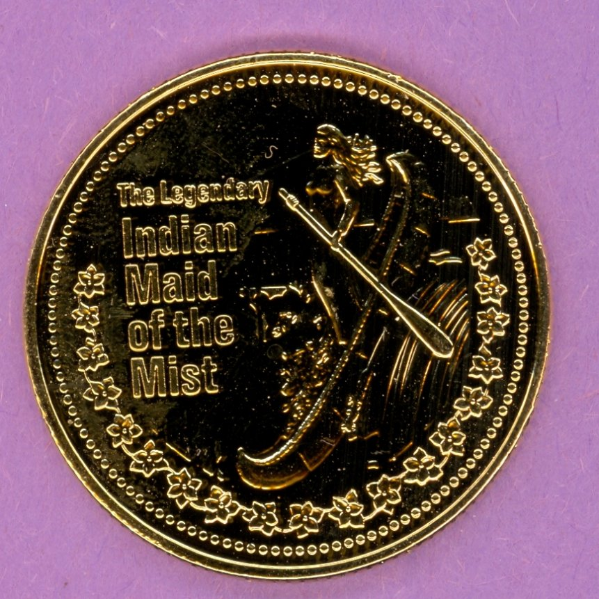 1981 Niagara Falls Ontario Trade Token or Dollar Indian Maid of the Mist in Canoe GOLD PLATED