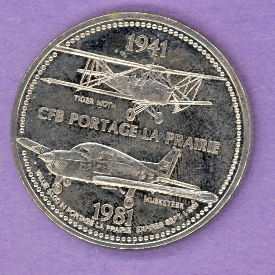 1981 Portage La Prairie Manitoba Trade Token Tiger Moth Musketeer Airplanes