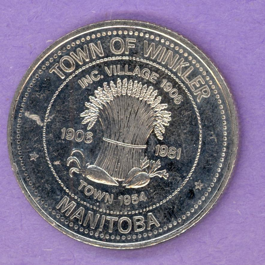 1981 Winkler Manitoba Trade Token or Dollar 75th Anniversary Grain Vegetables