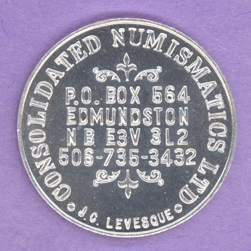 1982 Consolidated Numismatics Ltd Edmundston New Brunswick Private Good For Token