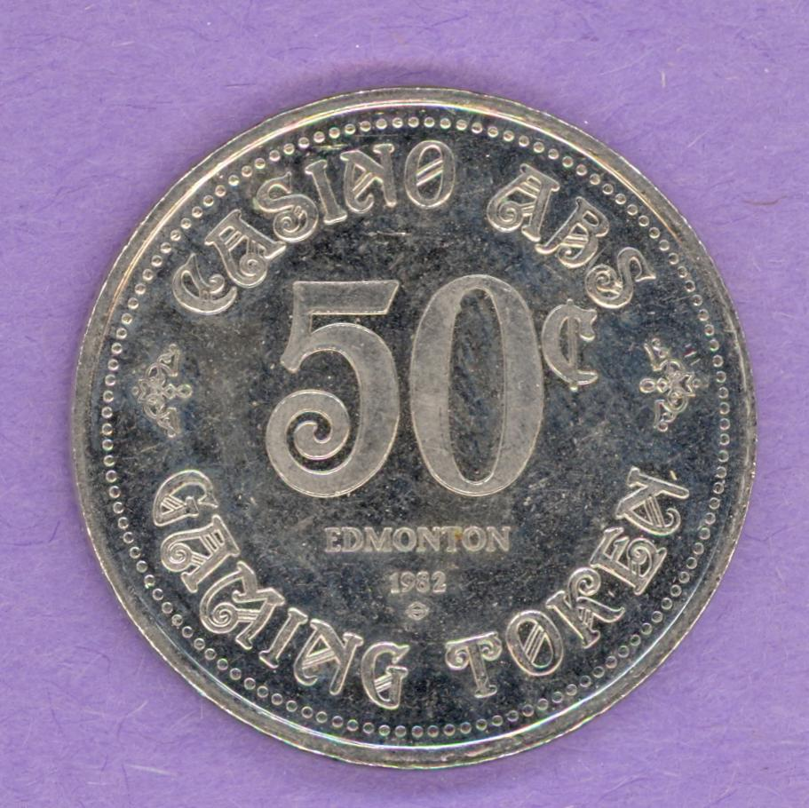 1982 ABS Casino Edmonton Alberta Gaming Token 50¢ Nickel Bonded Steel
