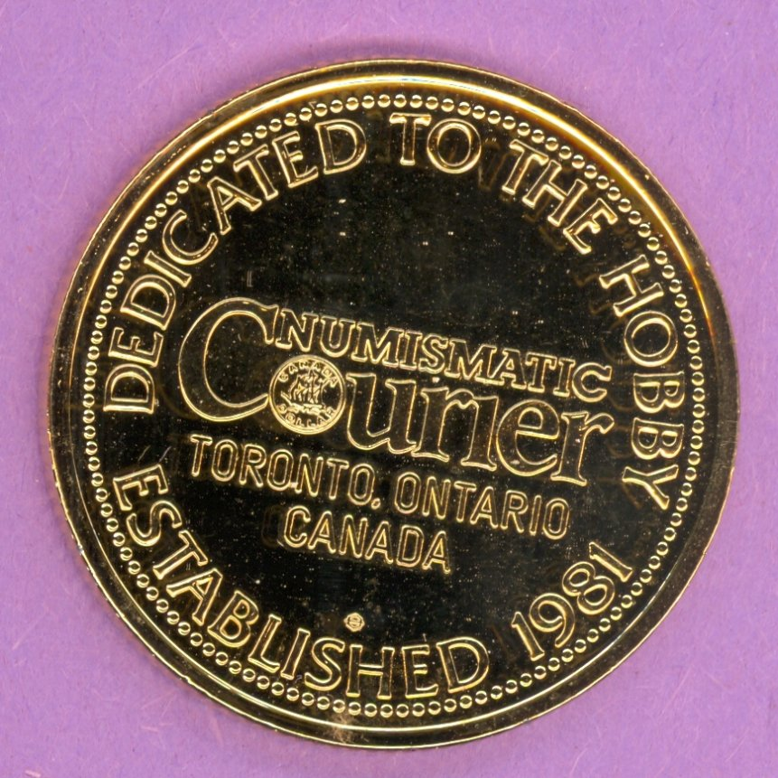 1982 Numismatic Courier Toronto Ontario Private Trade Token or Dollar GOLD PLATED