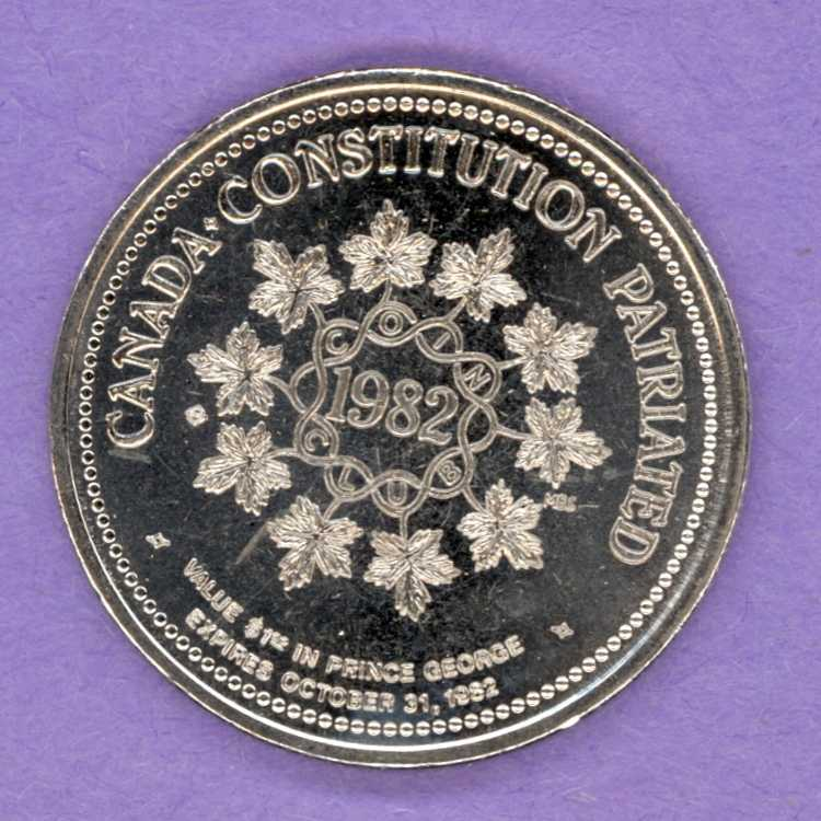 1982 Prince George BC Trade Token - Constitution NBS