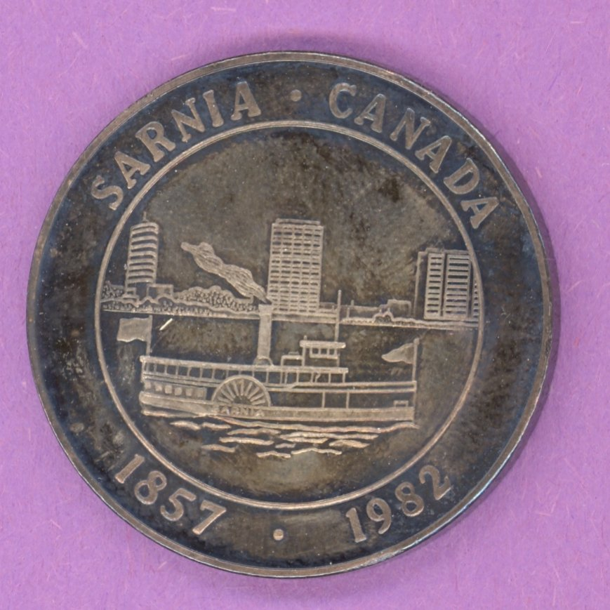 1982 Sarnia Ontario Municipal Trade Token or Dollar Paddlewheeler City Crest SILVER