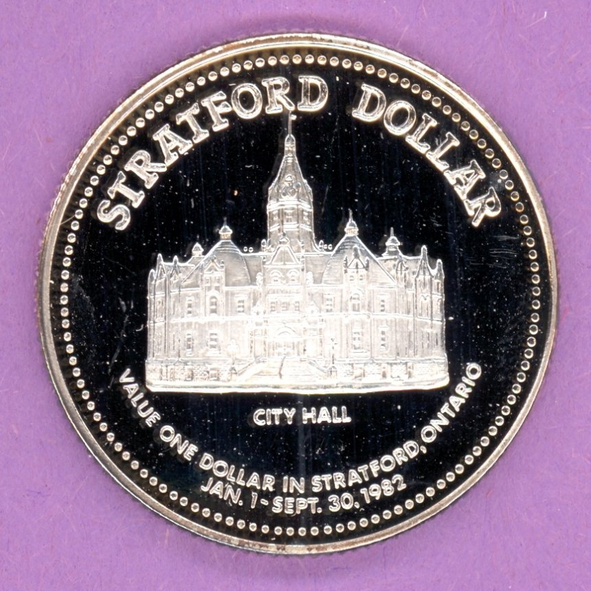 1982 Stratford Ontario Trade Token or Dollar City Hall Sesquicentennial SILVER