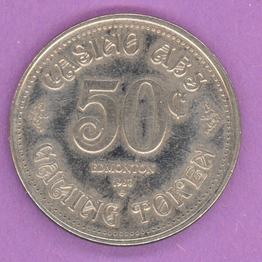 1983 Edmonton Alberta Casino ABS Gaming Token 50¢ Nickel Bonded Steel