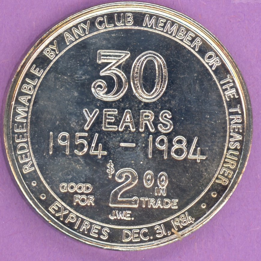 1984 Edmonton Coin Club Edmonton Alberta 30 Year Private Token With Maple Leaf SILVER PLATE