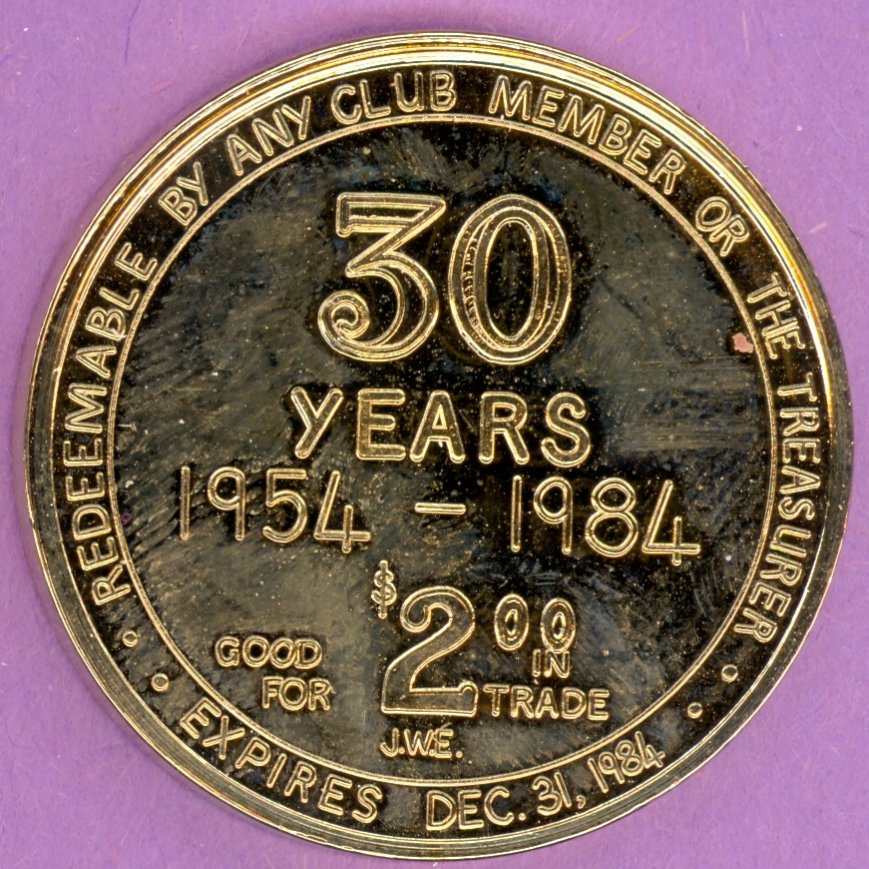 1984 Edmonton Coin Club Edmonton Alberta 30 Year Private Token With Maple Leaf GOLD PLATE