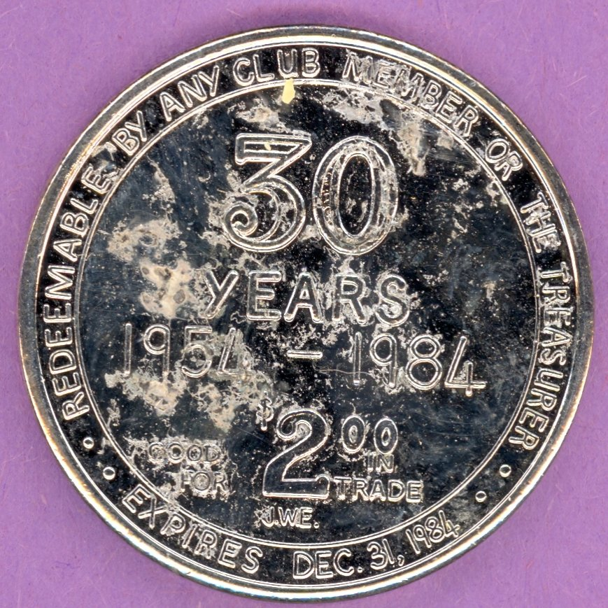 1984 Edmonton Coin Club Edmonton Alberta 30 Year Private Token Without Maple Leaf SILVER PLATE